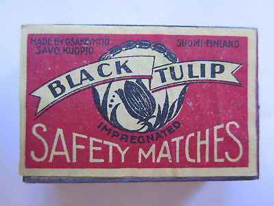 BLACK TULIP EMPTY MATCH BOX SAFETY MATCHES USED CONDITION MADE in FINLAND