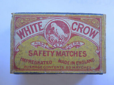 WHITE CROW ADVERT EMPTY MATCH BOX SAFETY MATCHES USED CONDITION MADE in ENGLAND