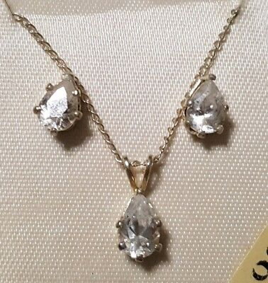 Vintage Sterling Silver Cubic Zirconia Earrings & Necklace Set Solid .925
