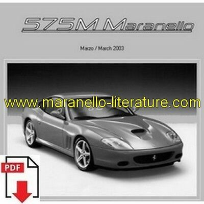 2003 Ferrari 575M Maranello spare parts catalogue PDF (uk)