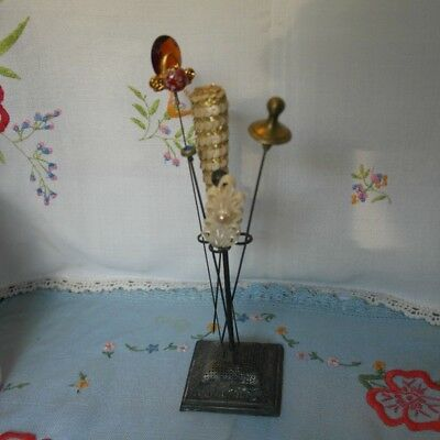 Antique/vintage hat pin holder and hat pins