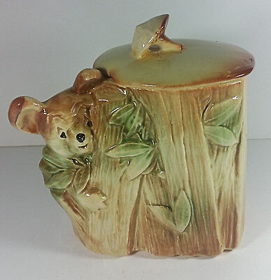 McCoy Pottery Koala Bear Cookie Jar 8in Bamboo Tree Vintage Canister USA
