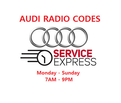 **OFFICIAL** AUDI Radio Code Pin Unlock Code Service - FAST SERVICE 30 minutes