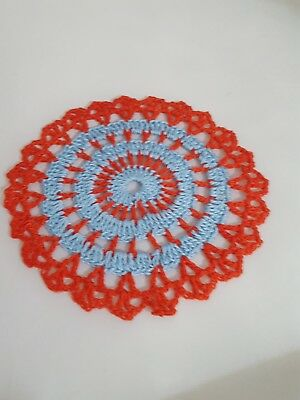 Baby Blue in Red Candy Bumblebee doily Approximately 5 Inches.
