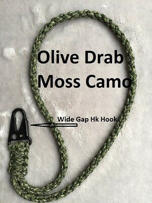 Paracord Neck Lanyard Wide Gap HK Style Snap Hook Olive Drab Moss Camo