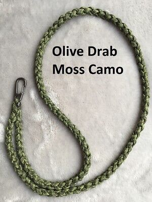 Paracord Neck Lanyard  Metal Snap Hook, Color Olive Drab Moss