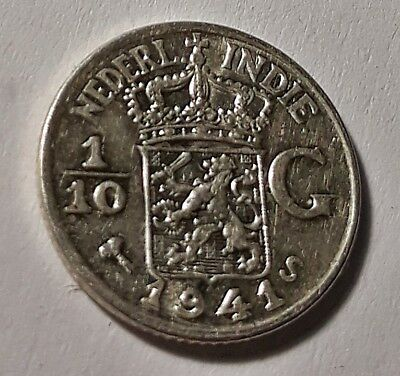 NETHERLANDS EAST INDIES 1/10 GULDEN 1941 Silver