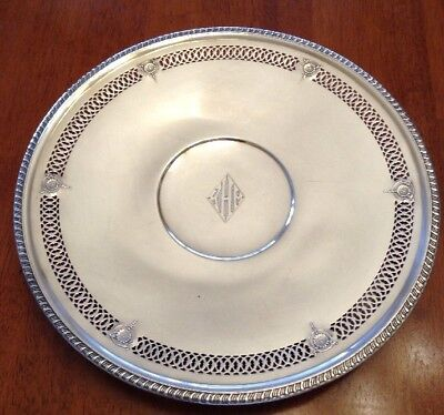 """Nice Sterling Silver Pierced Plate Tray Dish 380 Grams 10 1/2"""""""