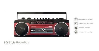 Flea Gloss Retro Boombox Cassette Bluetooth Player/AM/FM Radio/USB/SD Card RED