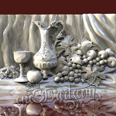 3D Model STL for CNC Router Artcam Aspire Still Life Antique Panel Cut3D Vcarve