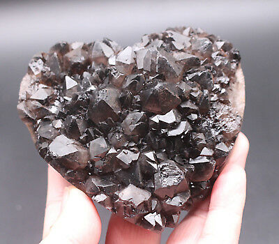 420g NATURAL SMOKY QUARTZ CRYSTAL GEODE CLUSTERS POINT HEART