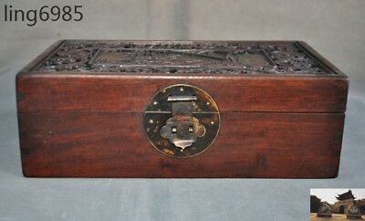 Old Chinese Huanghuali Wood deer Bamboo jewelry container case storage box boxes