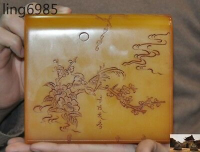 China Tianhuang Shoushan Stone carved flower bird Ancient Text Seal stamp signet