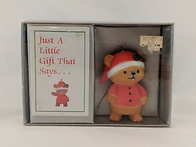Bradford for kids only bear in red pajamas Christmas tree ornament vintage 1984