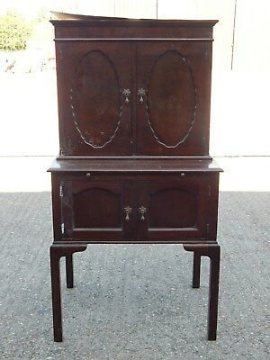 Antique reproduction mahogany cocktail drinks cabinet with pull out shelf table