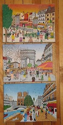 3 Vintage Original Naive Folk Art Paris Scene French Painting Great Small Size