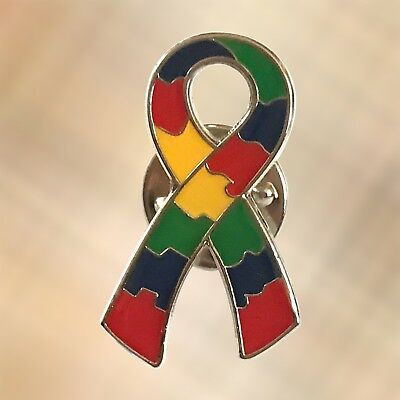 NEW Autism Awareness Puzzle Ribbon Lapel Pin Charity Brooch Badge Style 2