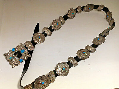 Sterling Sliver with Turquoise Conch Belt