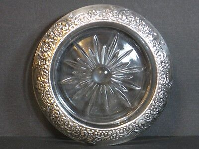 Botticelli by Frank Whiting Sterling Silver/Glass Coaster/s Floral Repousse Rare