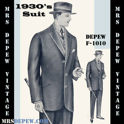 Menswear Vintage Sewing Pattern 1930s Men's Suit Jacket & Trousers F-1010