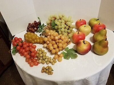 Vintage Plastic mixed Fruit Lot Realistic Pears, Grape Clusters, Apples