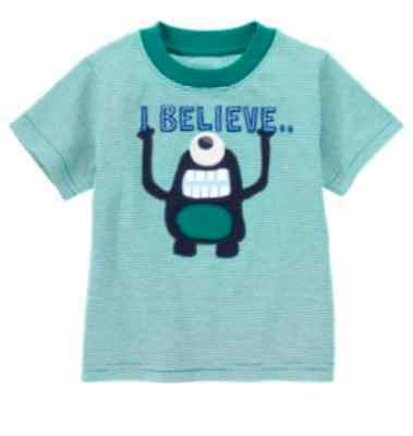NWT~Gymboree SPACE VOYAGER I Believe green striped monster S/S shirt~3-6