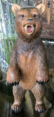 "Beautiful Antique Vintage Hand Carving of a Black Forest Swiss Bear 8.5"" tall"