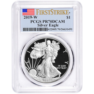 2019-W Proof $1 American Silver Eagle PCGS PR70DCAM First Strike Flag