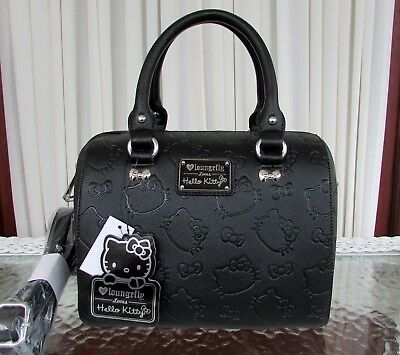 b3361872b Hello Kitty Loungefly Embossed Satchel Handbag Sanrio Purse Crossbody Black  NWT