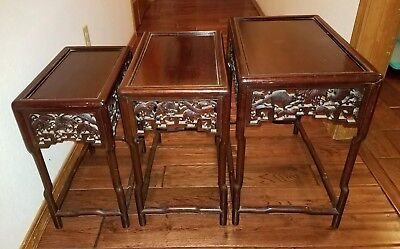 ANTIQUE 1900s CHINESE QING 3 STACKED NESTING CARVED WOOD TABLES UP TO 21x12x19""