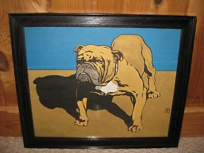 Antique Vintage 1920's Framed Bulldog Print