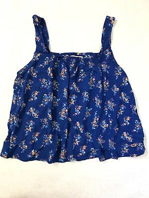 Hollister Women's Sleeveless open back cropped top blue floral