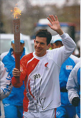 Tim HENMAN Signed Autograph Photo AFTAL COA Wimbledon Tennis Olympic Torch Baton