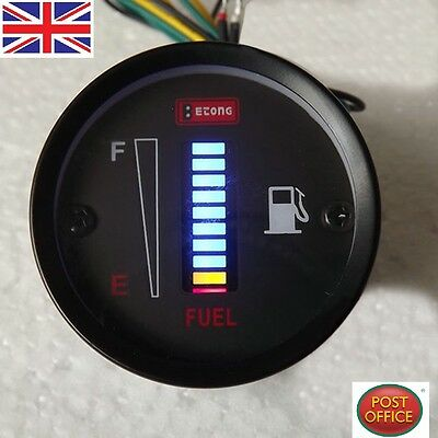 "2"" 52mm Fuel  Meter LED Digital Display Fuel Gauge For Car Motorcycle DC 12V"