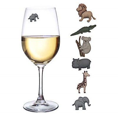 Animal Wine Charms Set of 6 Safari Themed Magnetic Wine Glass Drink Markers