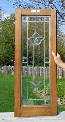 Antique BEVELED (LEADED, STAINED ) GLASS CABINET DOOR / WINDOW