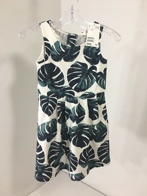 8c2a151cab6 H m Toddler Girls Textured Tropical Skater Dress White navy jungle Size 2-4Y