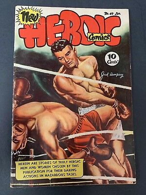 Heroic Comics # 40  (1947) Jack Dempsy Painted  Knockout Cover