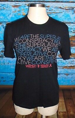 WESC We Are The Superlative Conspiracy Black Blue Logo T Shirt M Unisex Men 0e2bd50c74ca2
