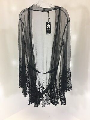 a9c2f286476 WORLD MARKET S M Boho Kimono Jacket Top Beaded Embroidered Tassels ...