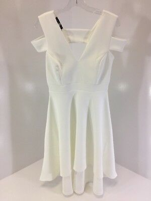 5c48c7a5cf08 Boohoo Women's Clea Bardot Strap Plunge Hi Low Skater Dress Ivory Uk14/us10  Nwt