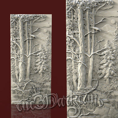 3D Model STL for CNC Router Artcam Aspire Forest Pattern Raven Door Cut3D Vcarve