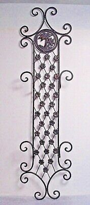 Wrought Iron 2 Plate display Rack wall hanging brown palm tree floral scroll
