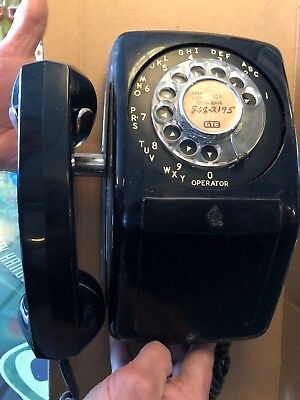 Vintage Automatic Electric AE Black Rotary Wall Phone Telephone