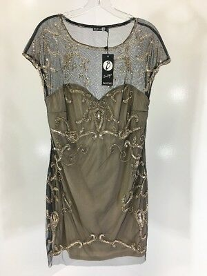 9994619feb Boohoo Boutique Women's Sheeva Embellished Bodycon Dress Blk/Nude Uk16/Us12  Nwt