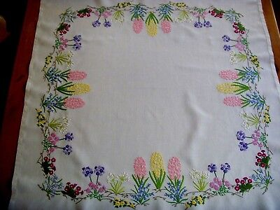 Vintage Hand Embroidered Linen Tablecloth ~ Beautiful Spring Flowers Bluebells