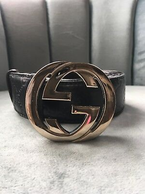 c0358499ddab8 GUCCI BELT MENS 95 • 38 Black With Gucci Print Leather -  108.50 ...