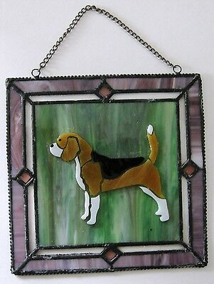 "NEW Stained Glass Beagle Dog Sun Catcher Window Art 6.25"" x 6.25"""