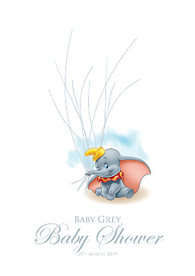 Dumbo Balloon Fingerprint Tree Personalised Christening Nursery Baby Shower
