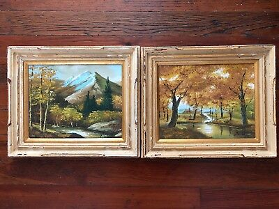 Vintage Pair Framed Oil On Board Paintings Golden Autumn Colors Signed